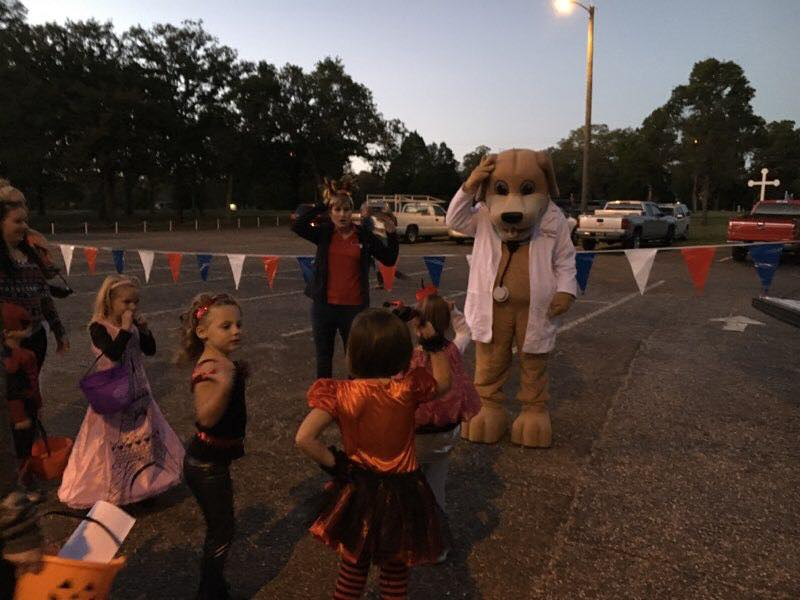 Mascot of Mainstreet and Trick or Treaters