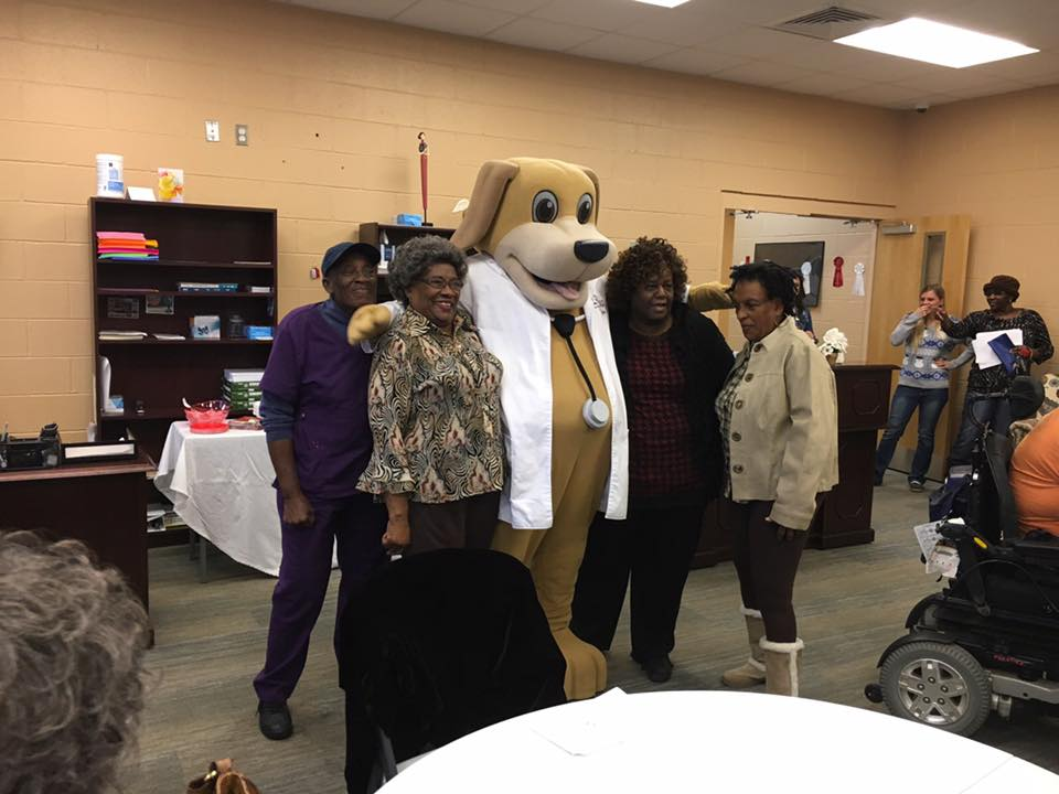mascot of urgent care in eufaula at the senior center by community center