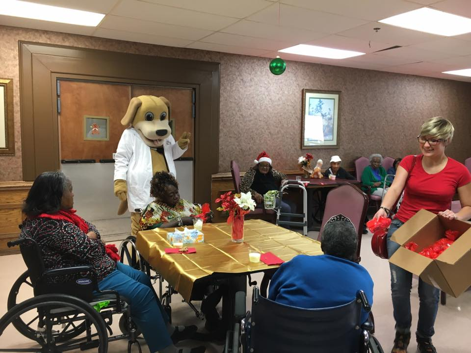 It's the most wonderful time of the year at mainstreet eufaula mainstreet mascot at crowne healthcare senior citizens