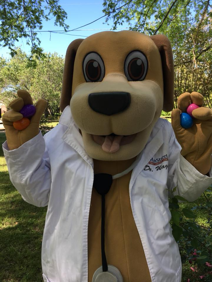 MainStreet Mascots hold eggs for Easter egg hiding