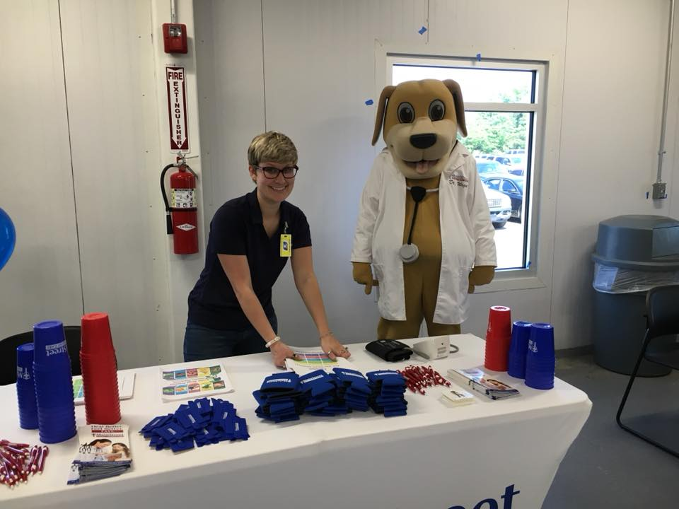 Community Educator with MainStreet Mascot At Keystone this May