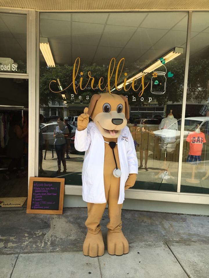 MainStreet Mascot ribbon cutting day downtown Eufaula