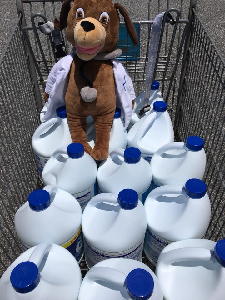 MainStreet Mascot gives bleach to dogs at Southern Souls Animal League