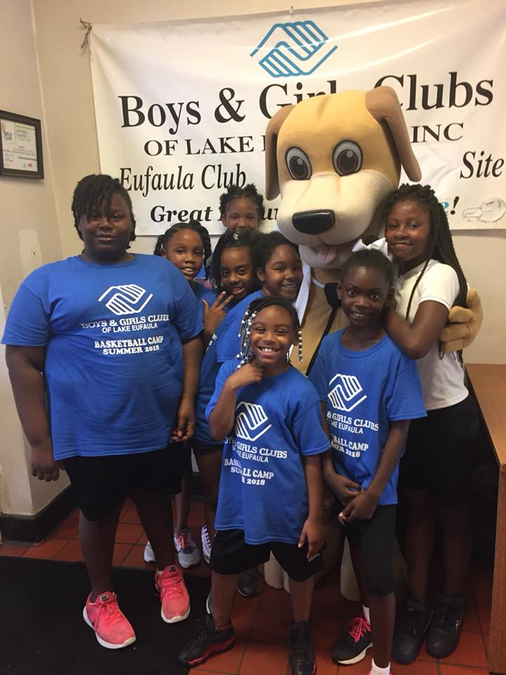 July Dr. Wags boys and girls club camp basketball mainstreet mascot