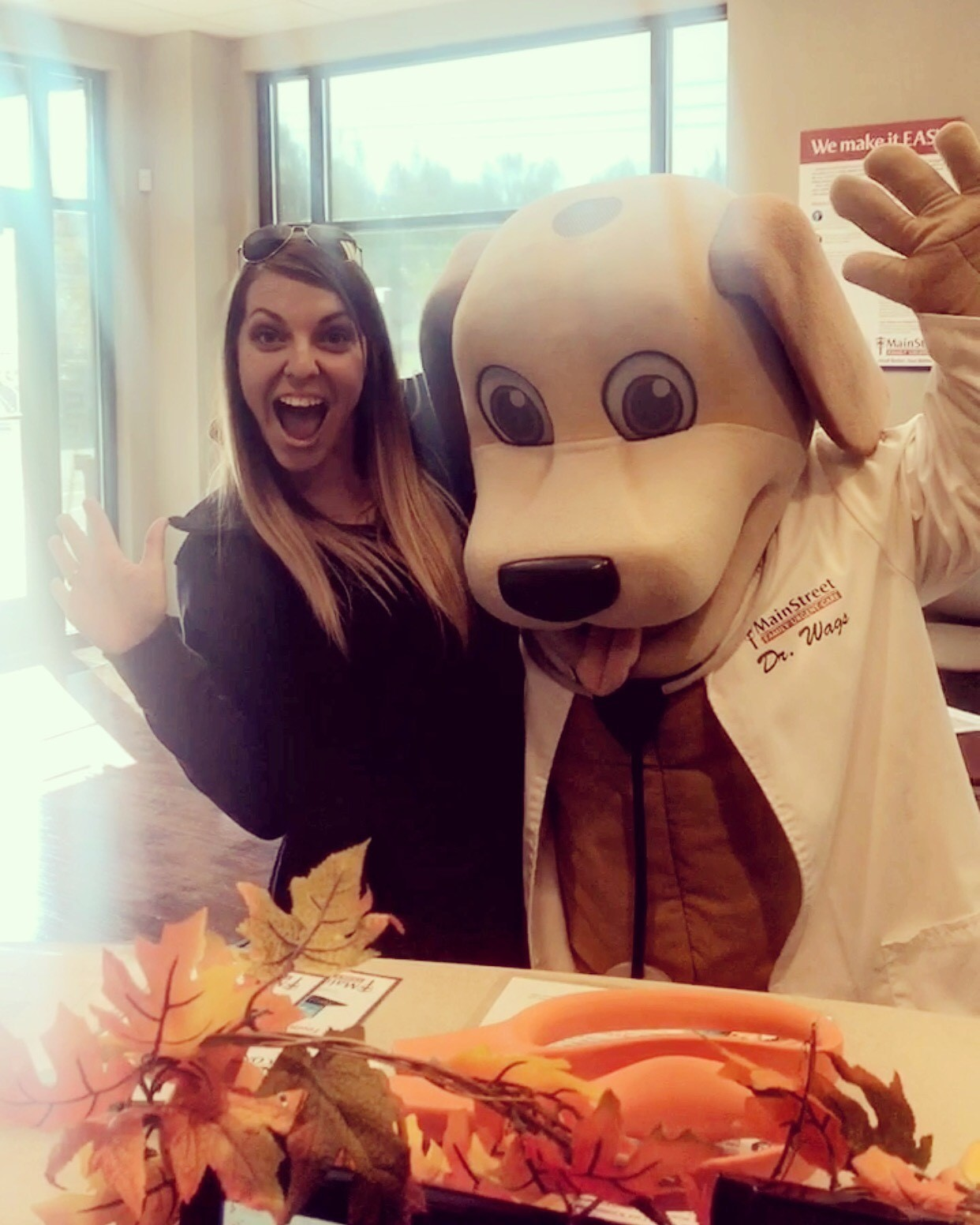 MainStreet Mentor Leah with Dr. Wags MainStreet Mascot