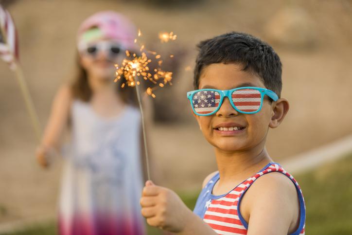kids at Fourth of July celebrations fireworks